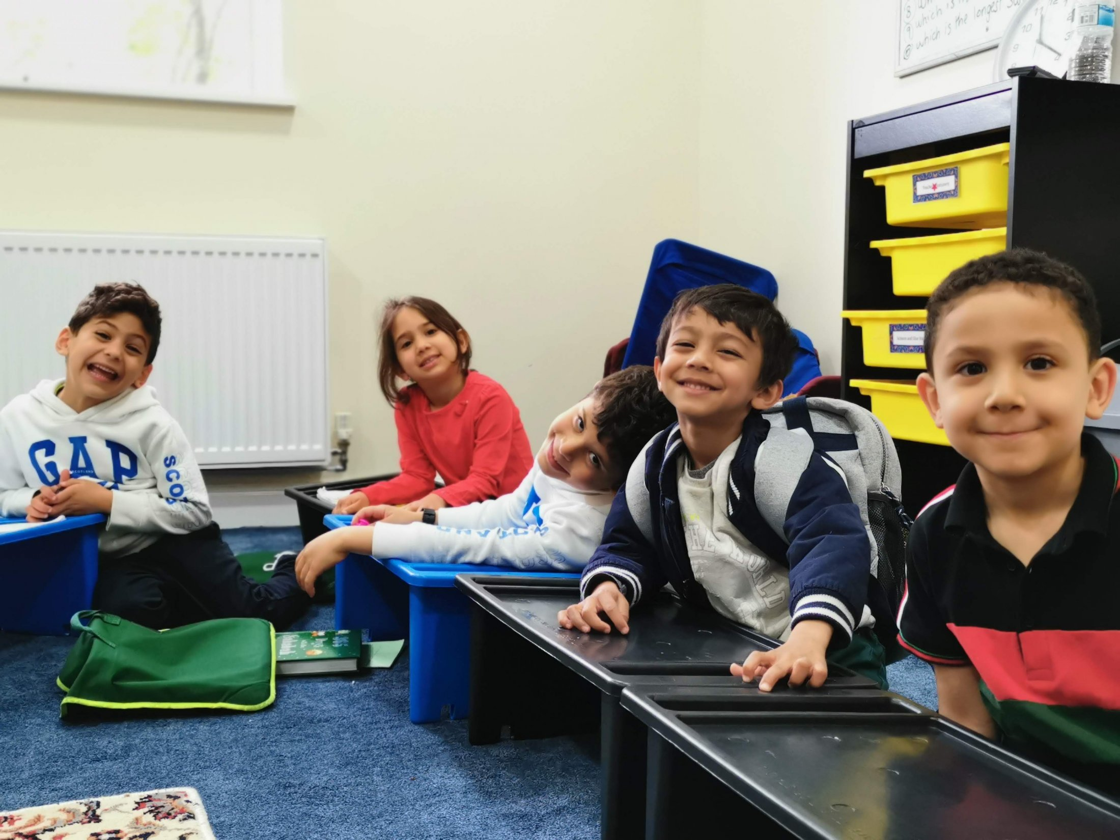 TOP kids students, ready for class.